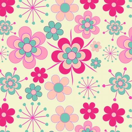 Pretty, pink retro flowers seamless pattern Stock Vector - 16984343