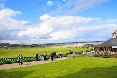 St Andrews, gold course and tourists Stock Photo - 18080160