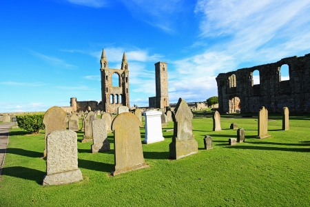andrews: St Andrews Cathedral & St Rule�s Tower, Scotland, United kingdom Stock Photo