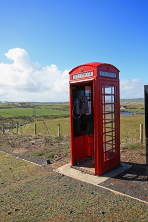 phonebox: Old British red phonebox in the fields