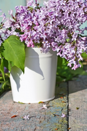 Beautiful , soft lilac in a white vase retro style  Stock Photo - 20163120