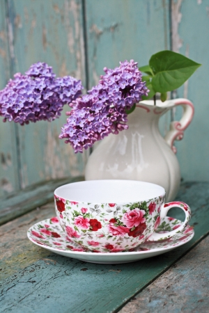 Lovely lilac in the vintage vase close up Stock Photo - 20163200