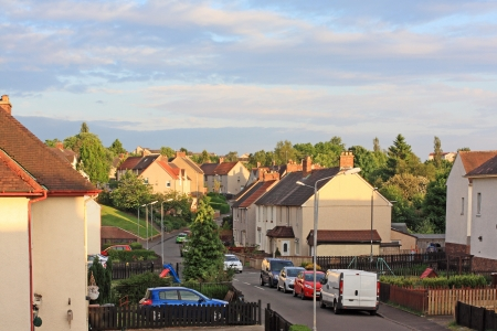 British street with social housing in summer time