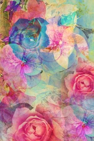 VINTAGE: Fond romantique de cru avec des roses et des hortensias