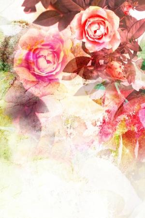 vintage floral: Romantic pink roses vintage background Stock Photo