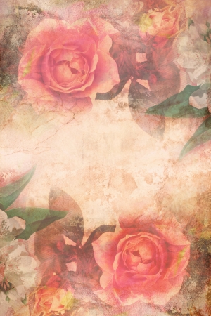 Romantic pink roses vintage background photo