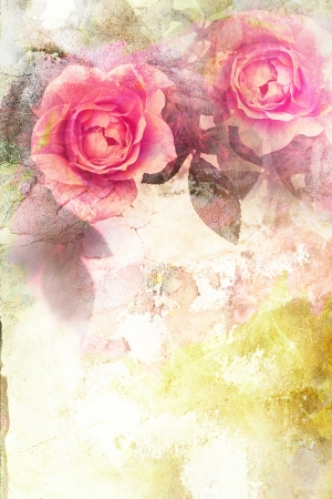 vintage roses: Romantic pink roses vintage background Stock Photo