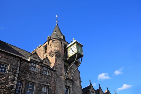 turreted: Canongate tolbooth clock, Edinburgh  Scotland