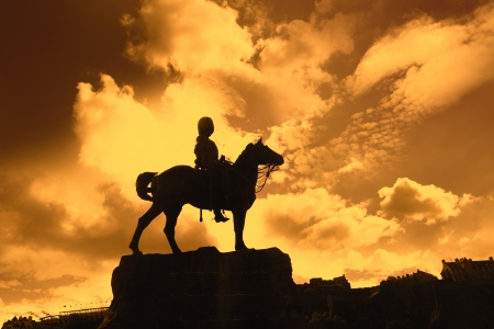princes street: Boer War Monument In Princes Street Gardens in the sunset