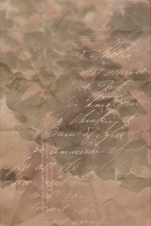 antiqued: Dark, floral, grungy artistic background with handwriting Stock Photo