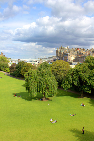 edinburgh: Princess Gardens and architecture, Edinburgh in Scotland