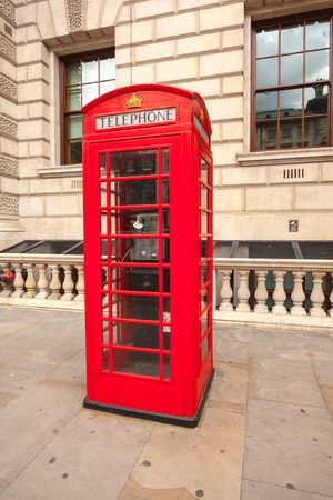 phonebox: Traditional red telephone box in London UK Stock Photo