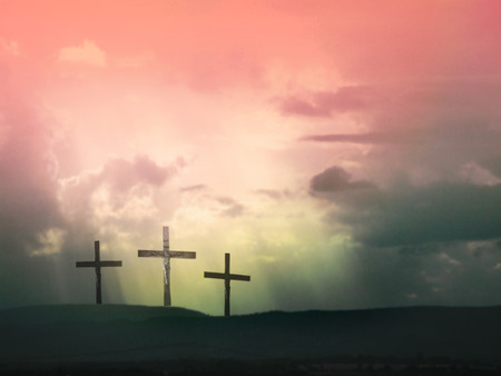 jesus on the cross: Three crosses against dramatic red sky Stock Photo