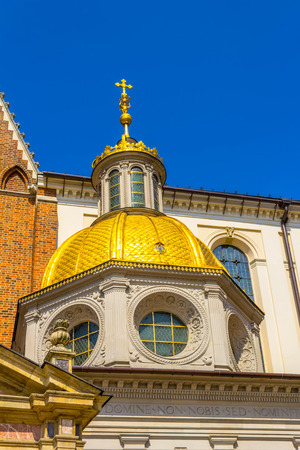 hill of the king: King Sigismunds Cathedral and Chapel, Royal Castle at Wawel Hill, Krakow, Poland Editorial