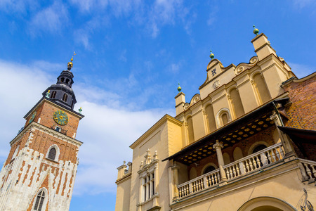 main market: Cloth Hall  and  Old Town Hall  Ratusz at Main Market Square Rynek Glowny in Cracow , Krakow, Poland, Europe Stock Photo