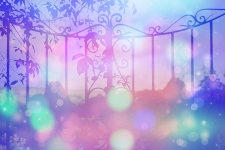 garden gate: Dreamy background with beautiful, old, stylich, garden gate with bokeh lights