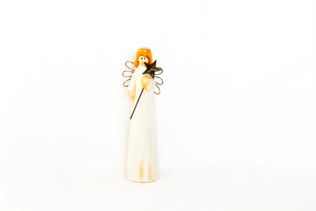 angel figurine: Figurine of angel on white background Stock Photo