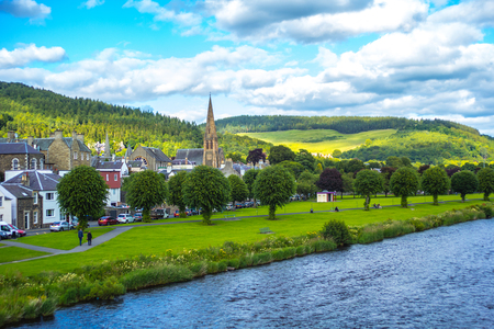 Panorama of Peebles with the river Tweed, Scottish borders,  Scotland, UK Stock Photo