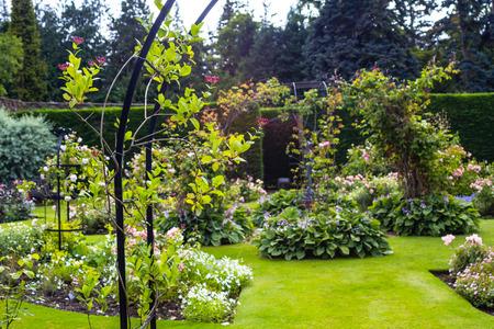 herbaceous border: Beautiful walled garden Stock Photo