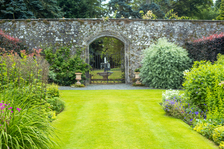 walled: Beautiful walled garden Stock Photo