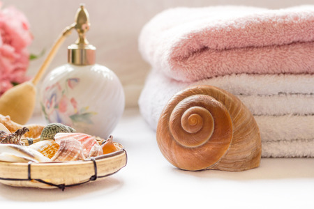 Bath arrangement with towels and seashells