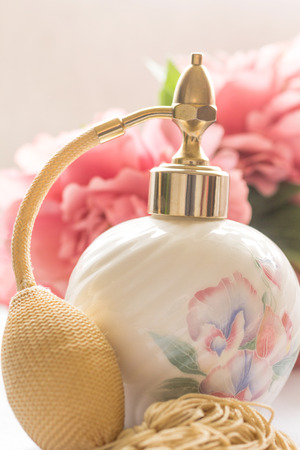 parfume: Bath arrangement with parfume bottle, Stock Photo