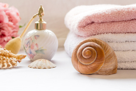 cleaness: Bath arrangement with towels and seashells