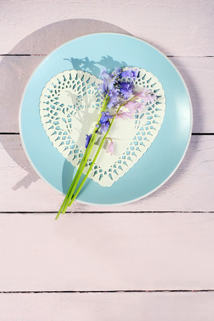 natural love: Beautiful bluebells on wooden background, romantic love concept