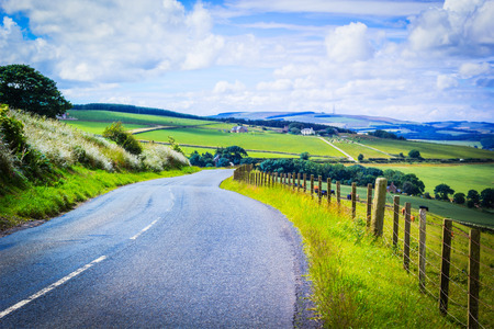 uplands: A road in the countryside, Scottish summer landscape, East Lothians, Scotland, UK
