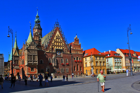 WROCLAW, POLAND - September12, 2016: Historical City hall. Wroclaw is the capital of Lower Silesia