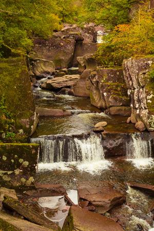 water falls: Water falls in Autumn landscape, Scotland