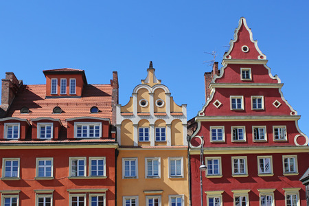 silesia: Architecture of Wroclaw, Poland, Europe. City centre, Colorful, historical Market square tenements.Lower Silesia, Europe.