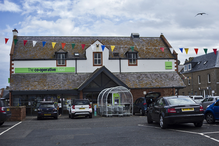 co operative: The Co-operative food shop in Eyemouth in Scotland. UK. 07.08.2015 Editorial