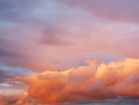 Beautiful, dreamy, pink sky with clouds Stock Photo