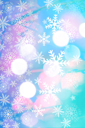 xmass: Beautiful, Christmas background with bokeh lighst and snowflakes in blue and pink colors.