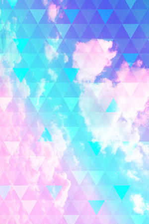 Bright, colorful futuristic, geometric background with triangles pattern