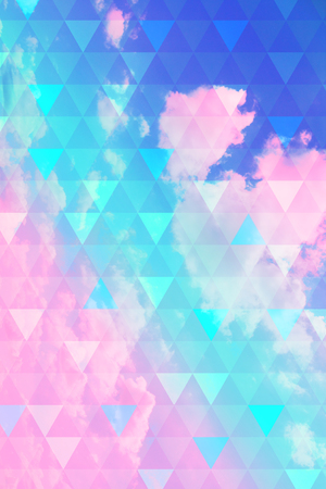 Abstract, geometric background with triangles and clouds