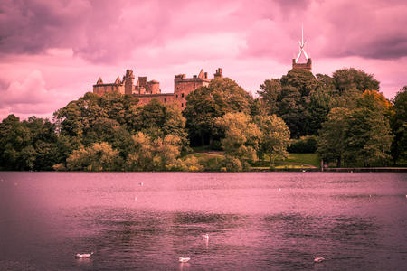 St. Michael's Church and Linlithgow Palace in Linlithgow, Scotland