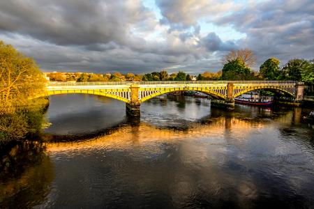 Richmond Railway Bridge, Thames River, Richmond, London, UK Stock Photo