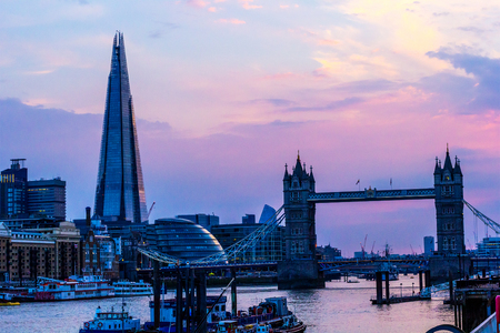 Panorama of London in the sunset with shard and Tower Bridge, London, UK