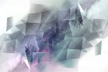 Dreamy, abstract, geometric, white and grey polygonal background Standard-Bild - 128779599