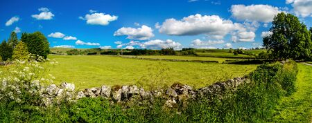 Panorama of beautiful landscape in Mahlam village, Yorkshire Dales, England, UK