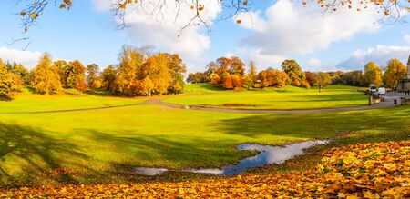 Panorama of the park in Falkirk, beautiful Autumn