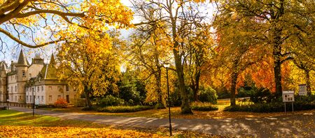 Callendar House. Panorama of the park in Falkirk, beautiful Autumn