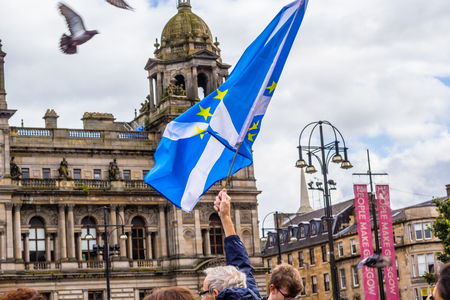Glasgow, Scotland, August, 31, 2019. 'Stop the coup': Protests in Glasgow, George Square