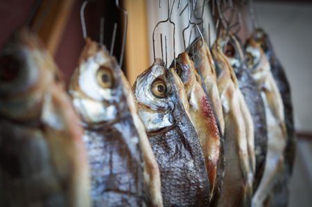 river fish: Salty dry river fish hanging on hook background Stock Photo