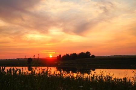 orange sunset: Orange Sunset on the River beautiful background