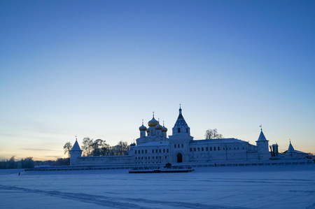 kostroma: Kostroma city. Russia. Holy Trinity Ipatiev Monastery at sunrise in winter day Stock Photo