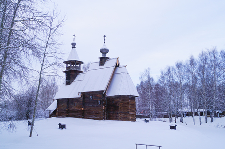 kostroma: Traditional Russian wooden church in Kostroma winter landscape