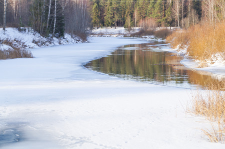Spring, ice melts on the river